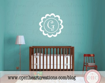 Childrens Vinyl Wall Decal - Initial and Scallop Frame Wall Decal - Polka Dot and Circle Border Frame 22 inch Circle FI0010