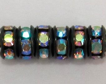 Bead, Rhinestone Rondelle Jet Crystal AB 5mm, 12 Pc. C194