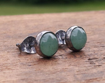 6mm Aventurine Gemstone Stud Post Earrings Fine Sterling Silver Oxidized - Little Bits of Color