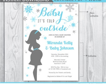 baby its cold outside invitation / snowflake baby shower invitation / winter baby shower invitation / winter ready to pop baby shower
