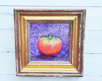 Tomato painting with purple background, original tomato painting, 6 1/2 x 6 1/2 original art with collage, vegetable art, kitchen art