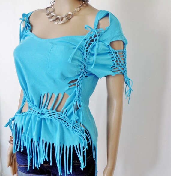 Original Top woman! WOVEN! COTTON jersey, blue size 38 / 40 61cm long belicious delicious creation