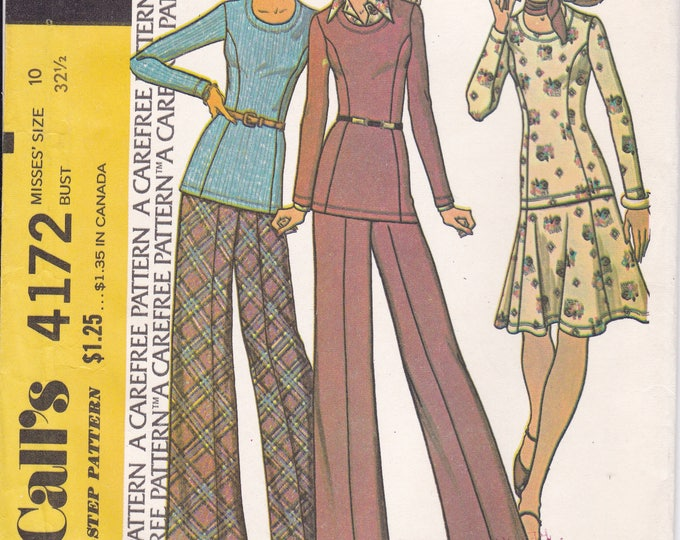FREE US SHIP McCall's 4172 Vintage Retro 1970s 70s Uncut Top Pants Skirt High Waist Wide Leg Size 10 Bust 32.5 Factory Folded
