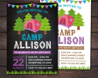 Camping Invitation, Summer Camp Birthday Party, Sleepover Birthday Invitation, Campout Invite, Personalized Digital Invitation, 2 options