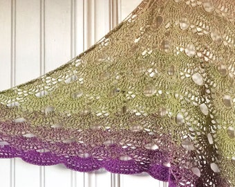 Large Crocheted Shawl - lace shawl - colour-changing Virus shawl - Lace wrap - spring shawl - summer shawl