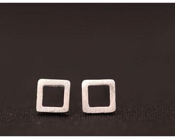 Sterling Silver Matte Square Stud Earrings, Tiny Earrings, Simple Sterling Silver Earrings, Minimalist Earrings O11