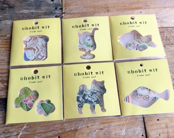 New- Chobit Wit Japanese Washi Sticker / Seal bits at your choice (6 designs x 4 piece each, 24 pieces in total) for journaling, packaging
