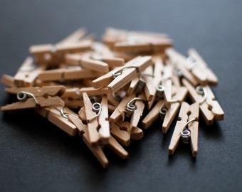 15 Mini Wooden Pegs
