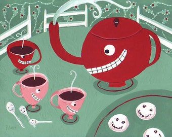 Whimsical Tea Art Print - 8x10 Tea Cups & Kettle w Cookies - Pink, Red, Mint and Jade Green