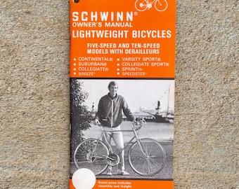 Vintage 1975 Schwinn Bicycles 5 and 10 Speed Owners Manual