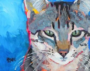 Tabby Cat Art Print of Original Acrylic Painting - 8x10