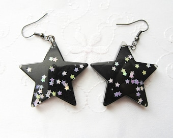 Black Star Earrings / Glitter Star Earrings / Kawaii Star Earrings / Cute Earrings / Kawaii Earrings / Fairy Kei