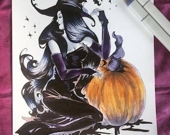 Witch Art Print, Halloween Art Print, Halloween Gift, halloween themed, art prints, original art prints, home decor