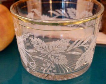 Glass Ice Bucket with Sparkly Leaf Detail