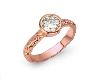 Rustic Rose Gold Moonrock Engagement Ring - Moissanite, or White Sapphire - Wabi Sabi Rock Texture