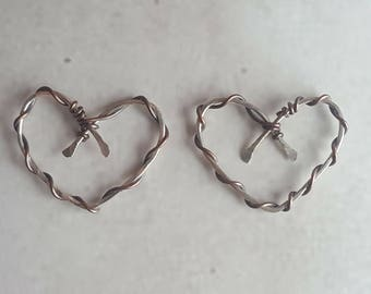 Sterling Silver Earring Components - Silver Heart Charms - Artisan Earring Components - Handmade Earring Findings - Earring Findings
