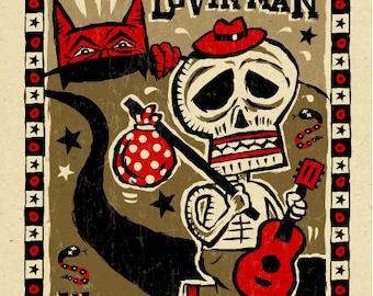 Blues Folk Art poster- signed by Grego - mojohand.com
