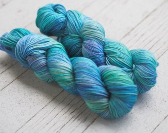 Summer Cottage Green Purple Aqua Blue Hand Dyed Yarn // Merino Nylon Sock Fingering Weight Yarn // Superwash Sock Skein