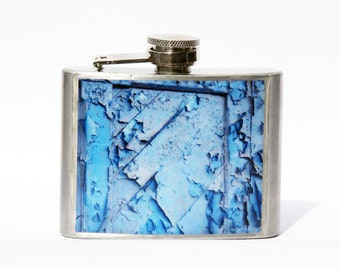 HIP FLASK - Whiskey Flask  -Domino Blue Flask - NYC Flask - 4oz flask