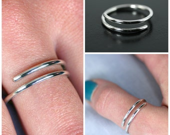 Thumb silver ring, Phalanx spiral ring, Sterling silver ring, Spiral ring, Adjustable Ring, Minimalist silver ring, Simple roock hippie zen