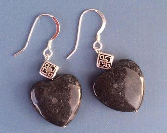 Black limestone Kilkenny marble Celtic heart earrings sterling wires Irish Jewellery