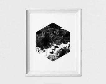 Minimal art print, poster, Black and white, geometric print, Scandinavian print, wall art, home decor, minimalist, wall decor ArtFilesVicky