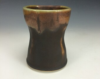 Dark Brown Mustard-Yellow and Green Tumbler, Abstract Clay Handless Mug, Unique Wine Goblet, Modern Kitchen Home Decor, Pen Holder