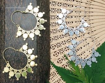 Brass Hoop Earrings, Big Earrings, Tribal Brass Earrings, Gypsy Earrings, Boho Earrings, Geometric Earrings, Brass Jewellery,