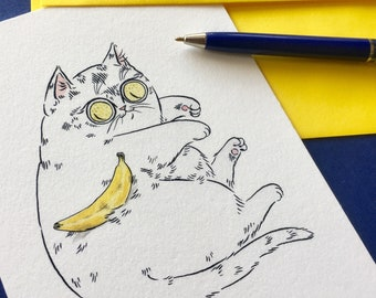 Banana for Scale Cat Greeting Card by PaperPuffin