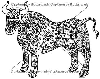 Ox Zentangle Coloring Page