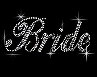 Classic Bride rhinestone iron on transfer hotfix bling DIY - 9 inches wide, 4 inches tall