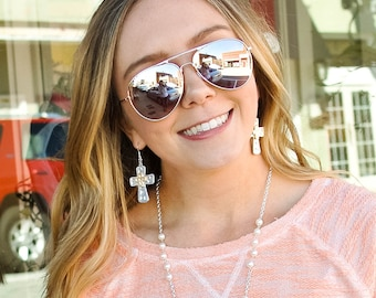 Silvertoned and Goldtoned Cross Earrings / Be Blessed