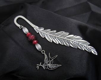 Bookmark silver bird and feather