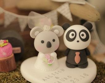 koala and panda wedding cake topper,koala wedding cake topper
