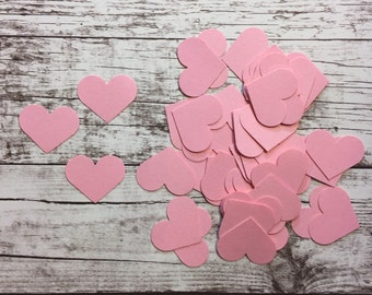 Heart Die Cuts - light pink paper - pack of 50 - love, weddings, bridal showers, valentines day