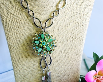 Necklace, One of A Kind (OOAK,) repurposed, vintage necklace, vintage brooch, turquoise, weddings