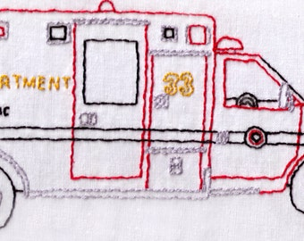 Paramedic Hand Embroidery Pattern, Truck, First Responder, Emergency, Bus, Medical, Fire Department, PDF