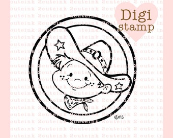 Cowboy Kid Digital Stamp for Card Making, Tags, Paper Crafts, Scrapbooking, Hand Embroidery, Invitations, Stickers, Cookie Decorating