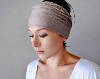 DRIFTWOOD Jersey Headband, Extra Wide Yoga Head Wrap, Light Taupe Head Scarf, Headbands for Women, Bohemian Hair Accessories