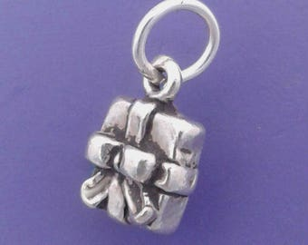 Present Charm .925 Sterling Silver, Wrapped Christmas Gift, MINIATURE Small - lp2159
