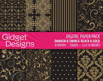 Black and Gold Digital Paper Pack - Damask Paper INSTANT DOWNLOAD printable party invitation