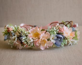 Spring Flower Crown Semi Full Halo - Pink Blue and Blush Flowers - Greenery - m2m Well Dressed Wolf Whisper Petal - Dollcake - Flower Girls