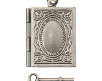 Picture Frame Pendant Photo Frame Pendant Picture Frame Photo Locket Antiqued Silver Rectangle Locket Key Charm
