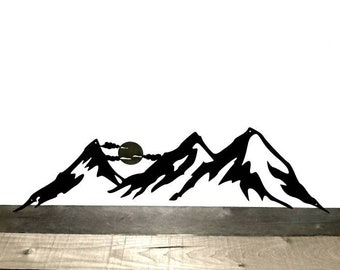 Mountains Wall Art, Mountain Home Decor, Metal Wall Art, Mountain Hanging, Mountain Range Wall Decor, Cabin Decor, Rustic Decor, Silhouette