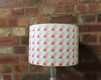 Pink lampshade, Pink geometric, Triangle home decor, Triangles, Pastel geometric, Geometric lamp shade, Geometric nursery, Modern lampshade