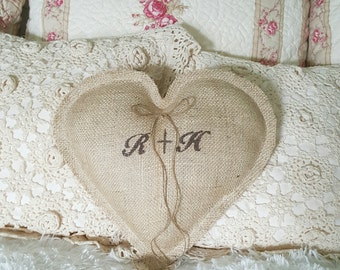 Personalizd heart shape pillow, bridal pillow,homedecor,monogram,shabby chic
