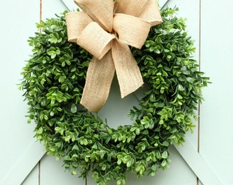 Outdoor Spring Wreath ~ Boxwood Wreath ~ Modern Farmhouse ~ Year Round Wreath ~ Door Wreath ~ Fixer Upper ~ Spring Wreath ~ Gift Under 50