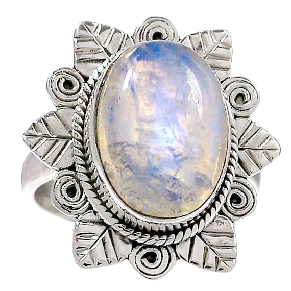 Rainbow Moonstone 925 Sterling Silver Ring Jewelry s.7
