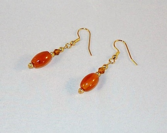 Golden Agate and Crystal Earrings