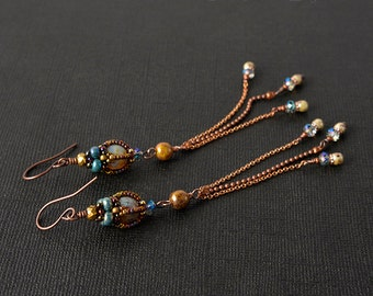 Long Beadwoven earrings